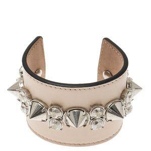 Alexander McQueen Spiked Leather Cuff Bracelet